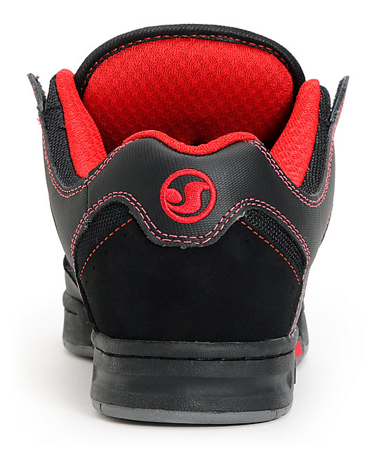 DVS Deegan Militia Black & Red Leather Skate Shoes