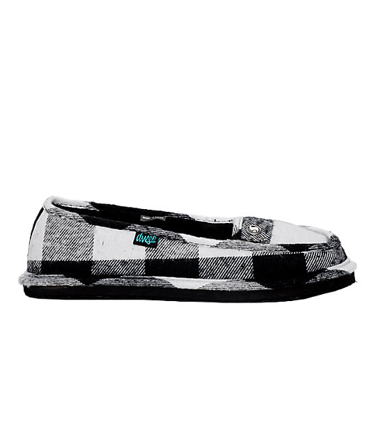 DVS Francisco Black & White Plaid Slippers