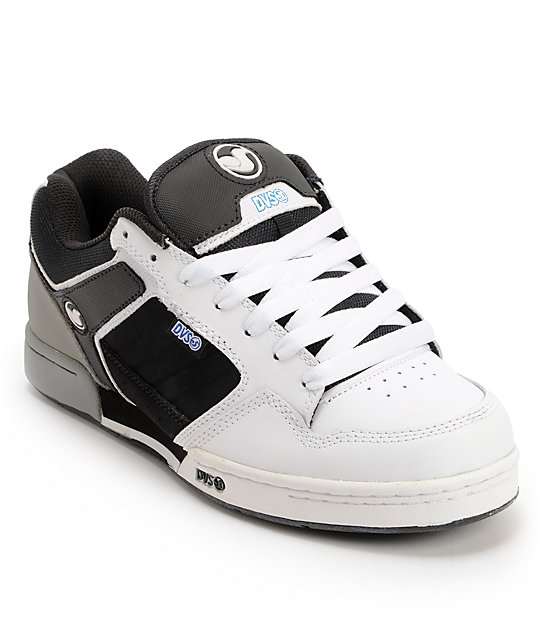 DVS Transom White, Black, & Grey Leather Skate Shoes
