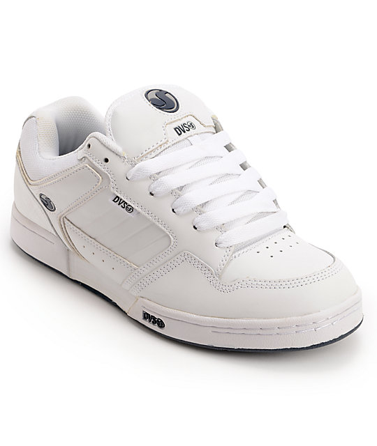 DVS Transom White Leather Skate Shoes