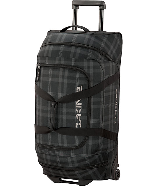 Dakine Blue Plaid Print Wheeled Duffle Bag