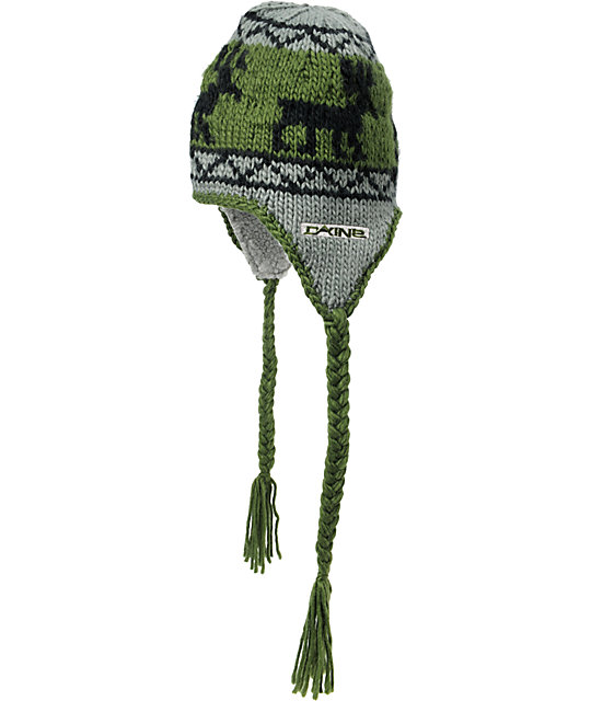 Dakine Elko Green & Grey Fleece Earflap Beanie