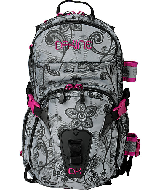 Dakine Lace Floral Heli Pro Black & Pink Snow Backpack | Zumiez