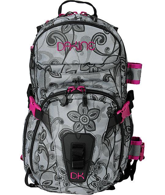 Dakine Lace Floral Heli Pro Black & Pink Snow Backpack at Zumiez : PDP