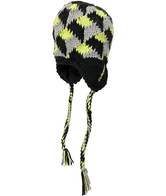 Dakine McFly Black & Lime Fleece Earflap Beanie