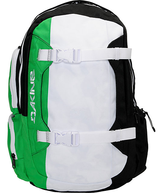Dakine Mission Black, White & Green Skate Backpack at Zumiez : PDP