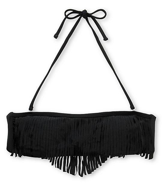Damsel Black Fringe Bandeau Bikini Top
