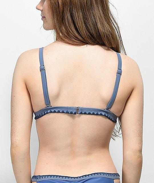Bikini Top De Damsel Triángulo Azul Blanket Stitch m8wvnN0O