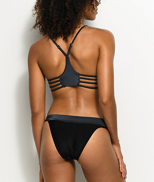 Damsel Bow Slate & Black Super Cheeky Bikini Bottom