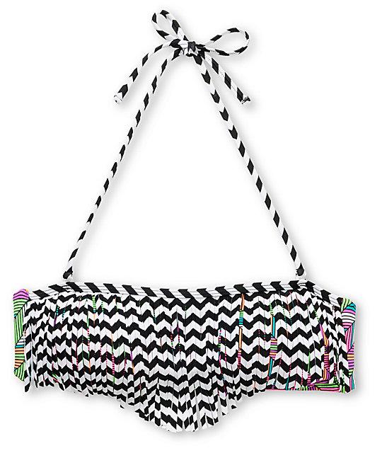 Damsel Cleopatra Neon Fringe Bandeau Bikini Top