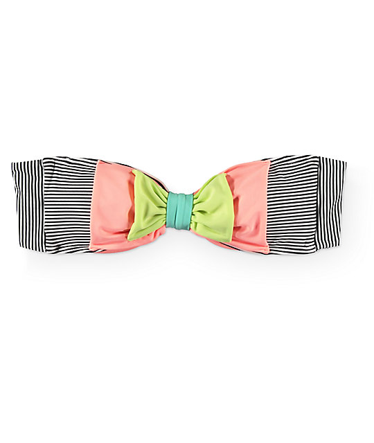 Damsel Double Bow Mini Stripe Bandeau Bikini Top