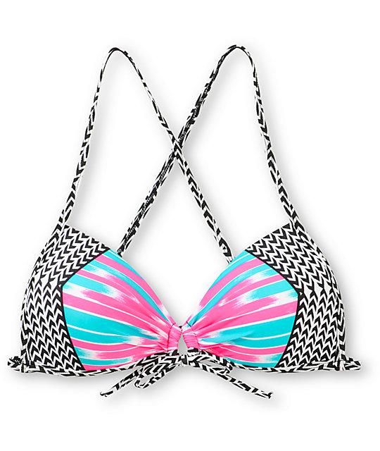 Damsel Feist Pink & Jade Molded Cup Bikini Top