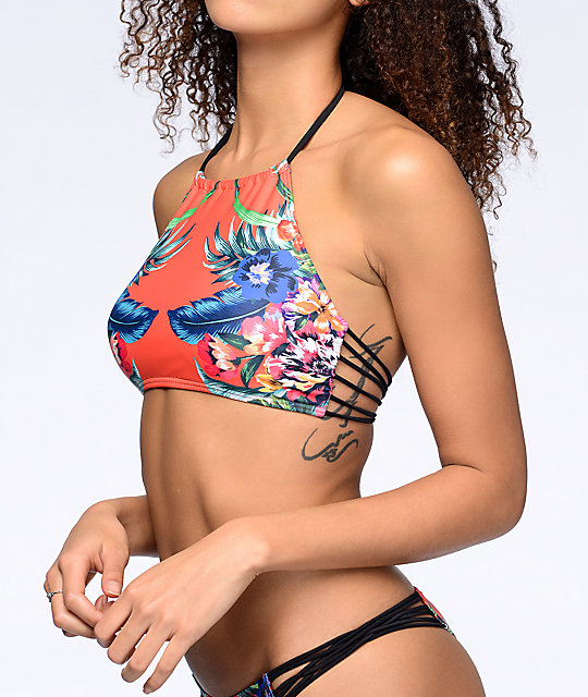 Damsel Tropical Escape Orange High Neck Halter Bikini Top