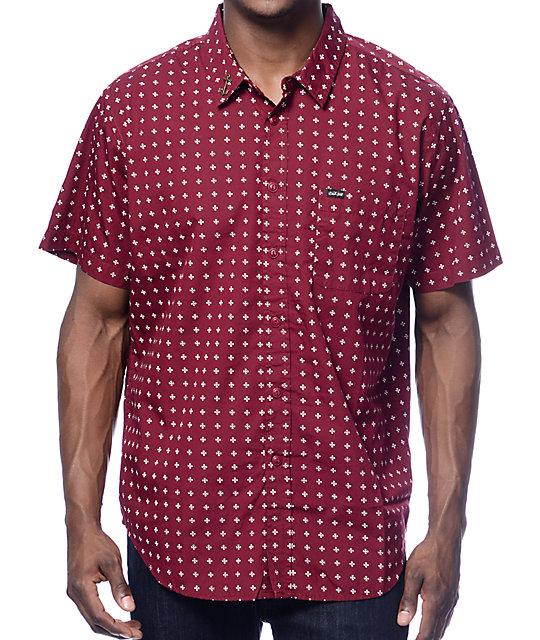 Dark Seas Abaft Burgundy Button Up Shirt