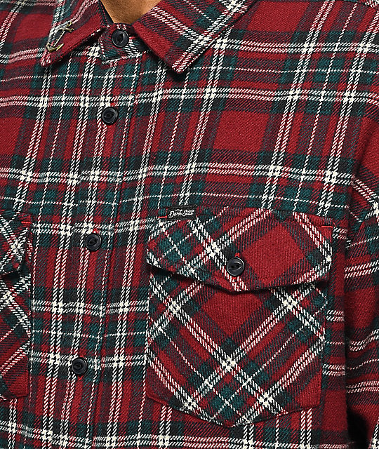 Dark Seas Flattop Red & Teal Flannel Shirt