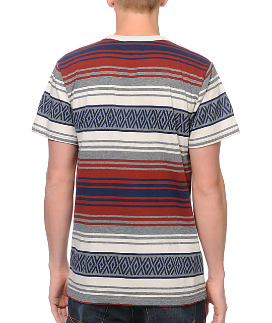 Dark Seas Hillman Grey Stripe Pocket T-Shirt