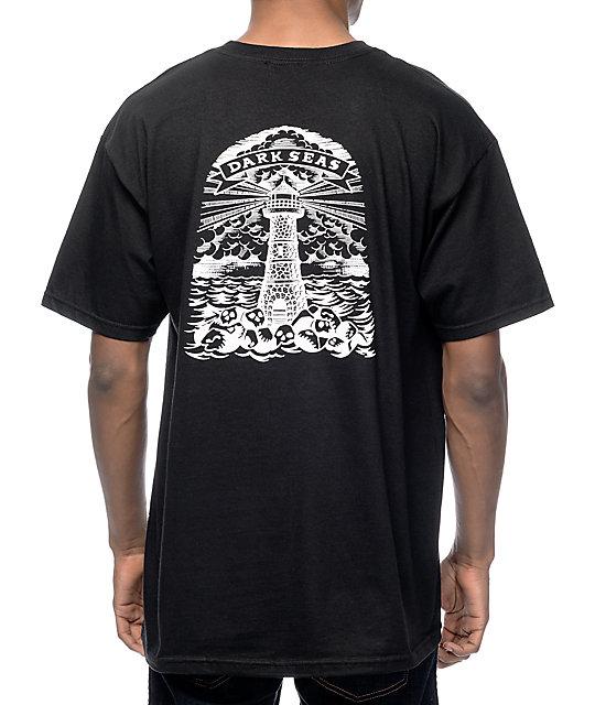 Dark Seas Lighthouse Grave Black T-Shirt