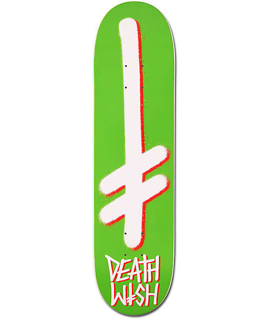 "Deathwish Gang Logo Green & Red 8.0""  Skateboard Deck"