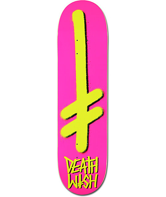 "Deathwish Gang Logo Pink & Yellow 8.0""  Skateboard Deck"