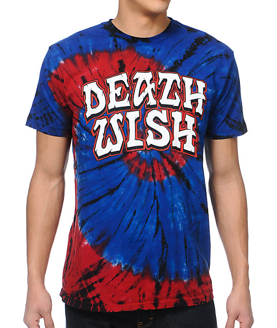 deathwish great death blue tie dyed t shirt