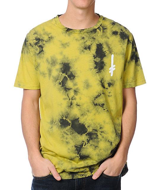 Deathwish Logo Yellow Marble Tie Dye T-Shirt