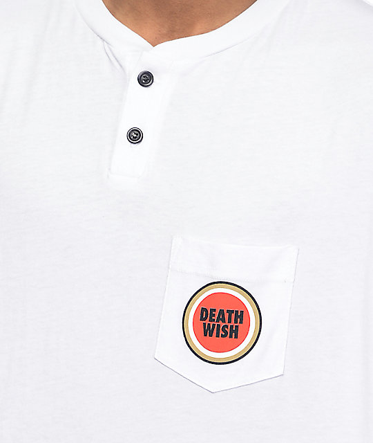 Deathwish Lucky White Henley Pocket T-Shirt