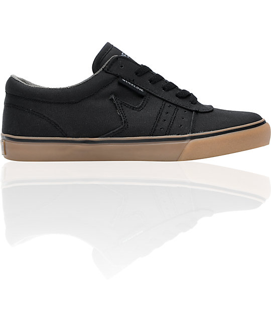 Dekline Archer Black & Gum Canvas Skate Shoes