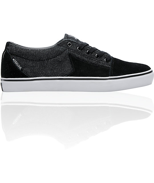 Dekline Belmont Black & Grey Denim Skate Shoes