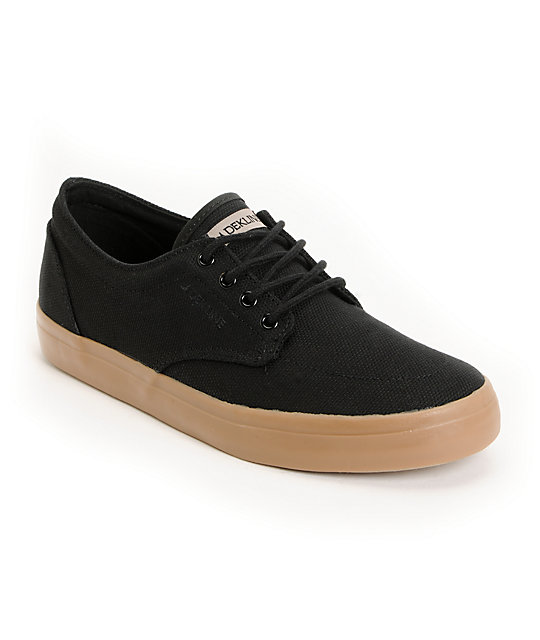 Dekline Mason Black Canvas & Gum Shoes