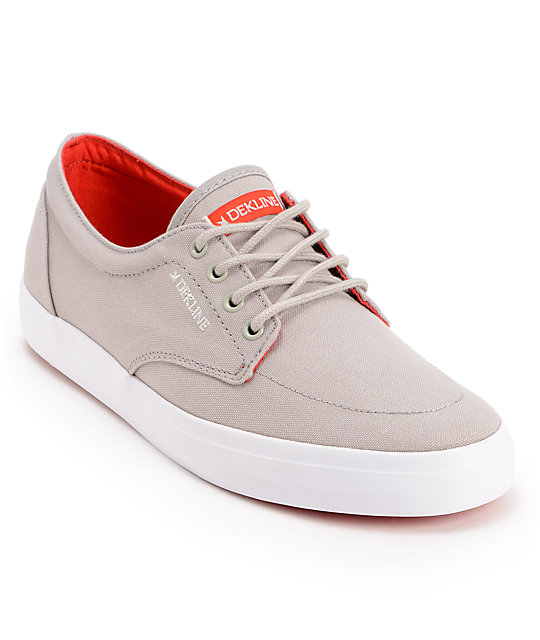 Dekline Mason Grey & Red Canvas Shoes
