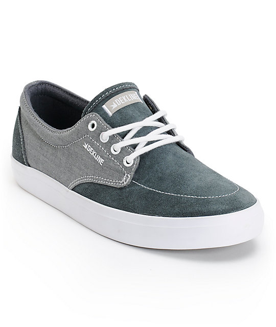 Dekline Mason Pewter & White Skate Shoes