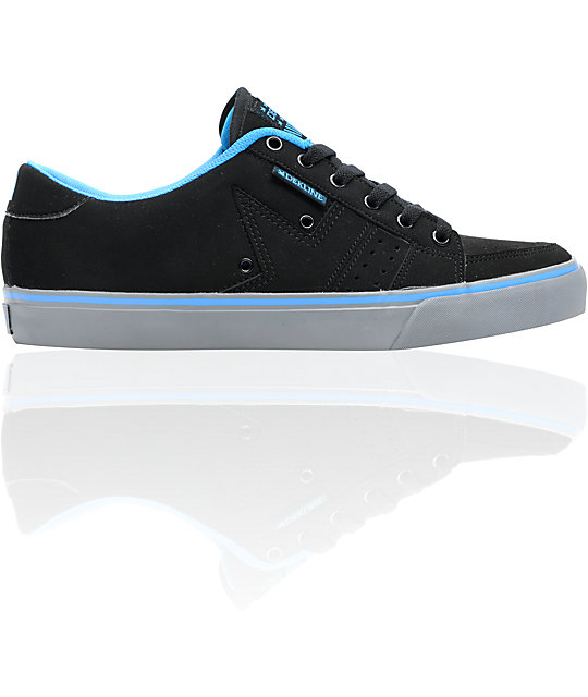Dekline Paxton Black, Grey & Blue Synthetic Nubuck Skate Shoes