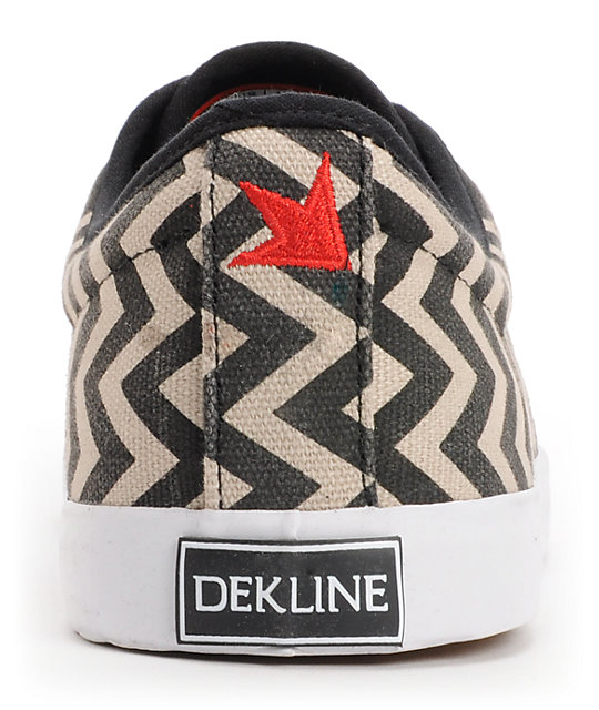 Dekline River Black & White Chevron Canvas Skate Shoes