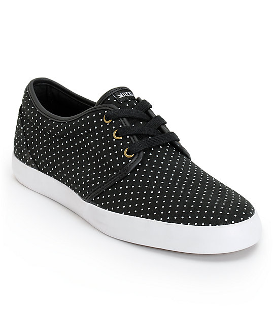 Dekline River Black & White Micro Dot Canvas Skate Shoes