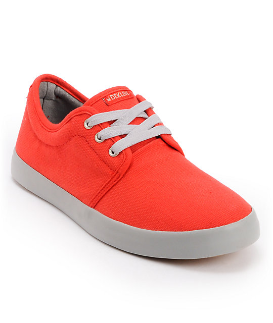 Dekline River Red & Grey Canvas Skate Shoes