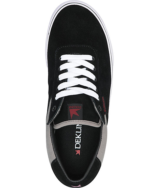Dekline Scout Black, Grey & Burgundy Suede & Canvas Skate Shoes