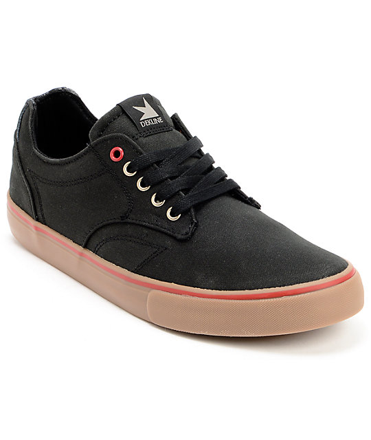 Dekline Tim Tim Black, Red, & Gum Waxed Canvas Skate Shoes