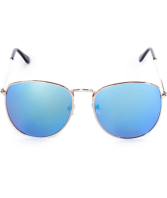 Dennis Round Squared Off Gold Sunglasses