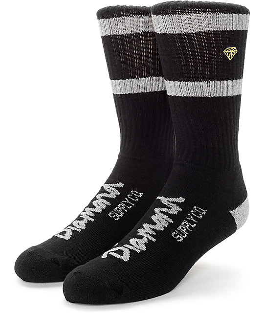 Diamond High Stripe Black & Grey Socks