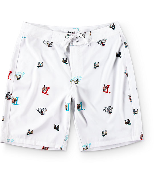 Diamond Pin Up White Board Shorts
