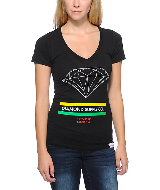 Diamond Supply Co 15 Years Of Brilliance Black V-Neck T-Shirt