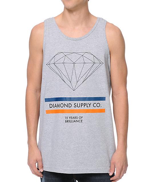 Diamond Supply Co 15 Years Of Brilliance Heather Grey Tank Top