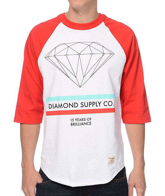 Diamond Supply Co 15 Years Of Brilliance Red & White Baseball T-Shirt
