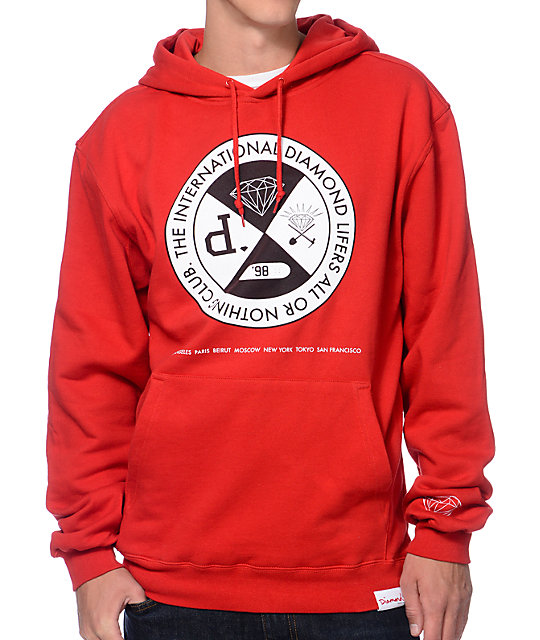 Diamond Supply Co All Or Nothing Red Pullover Hoodie