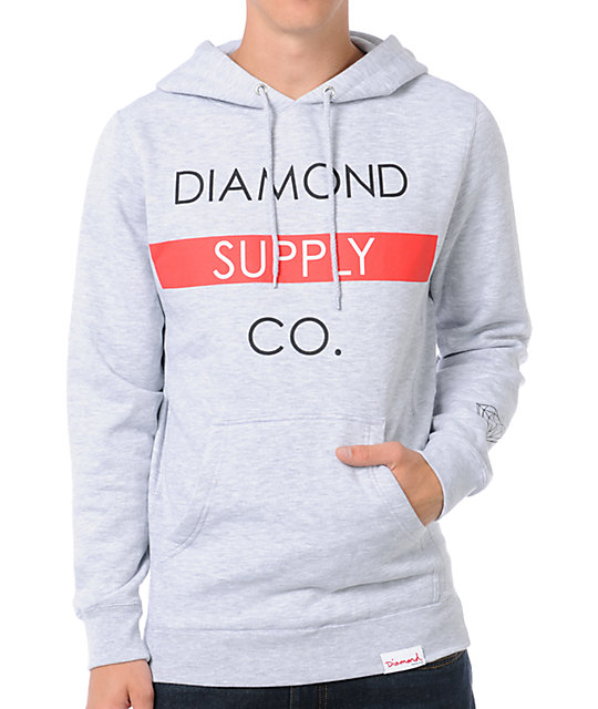 Diamond Supply Co Bar Grey Pullover Hoodie