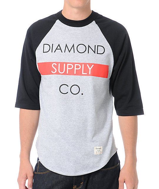 Diamond Supply Co Bar Logo Black Baseball T-Shirt