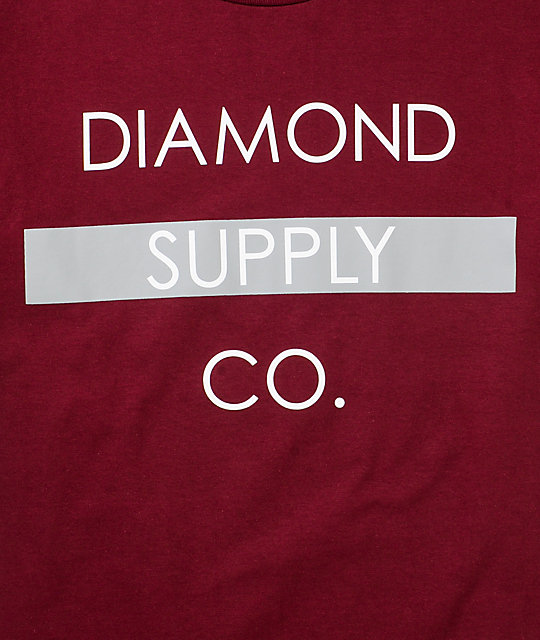 Diamond Supply Co Bar Logo Maroon & Grey T-Shirt