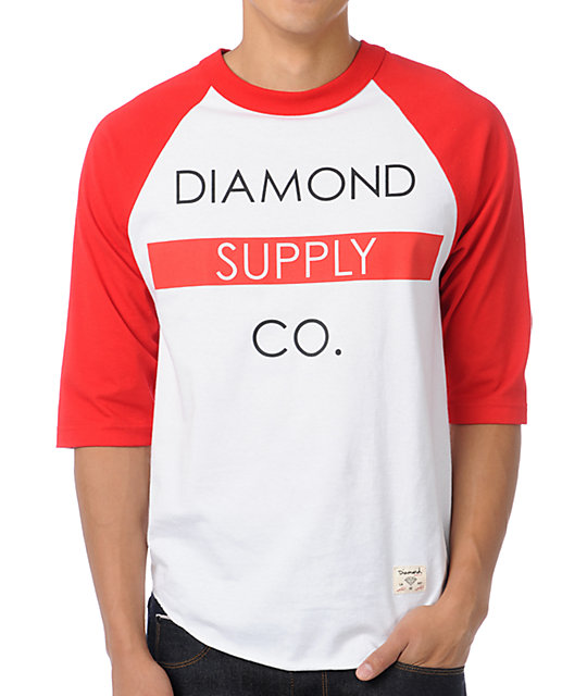Diamond Supply Co Bar Logo Red Baseball T-Shirt