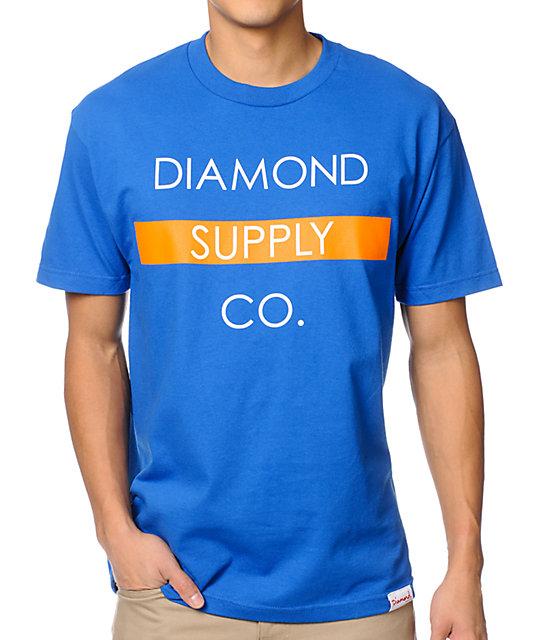 Diamond Supply Co Bar Logo Royal & Orange T-Shirt