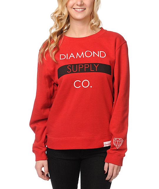 Diamond Supply Co Bar Red Crew Neck Sweatshirt at Zumiez : PDP - photo#20